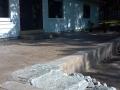 Stamped concrete patio, limestone steps, versa-lock retaining wall